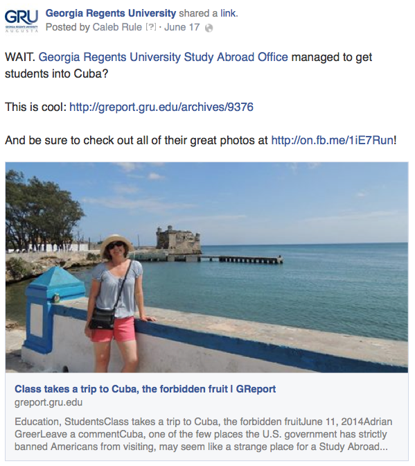 Promoting a GReport story from Study Abroad