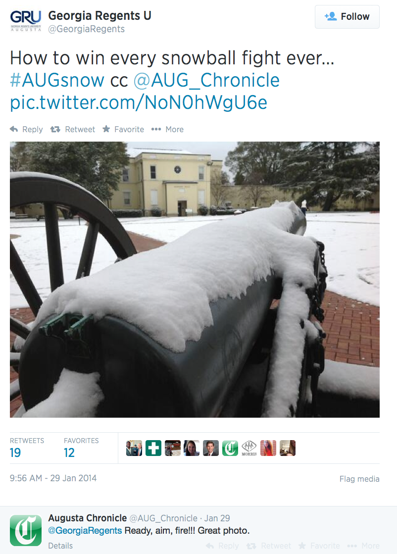 A screenshot of a tweet sent during #AUGsnow that was the most popular snowstorm tweet from user-submitted social media photos