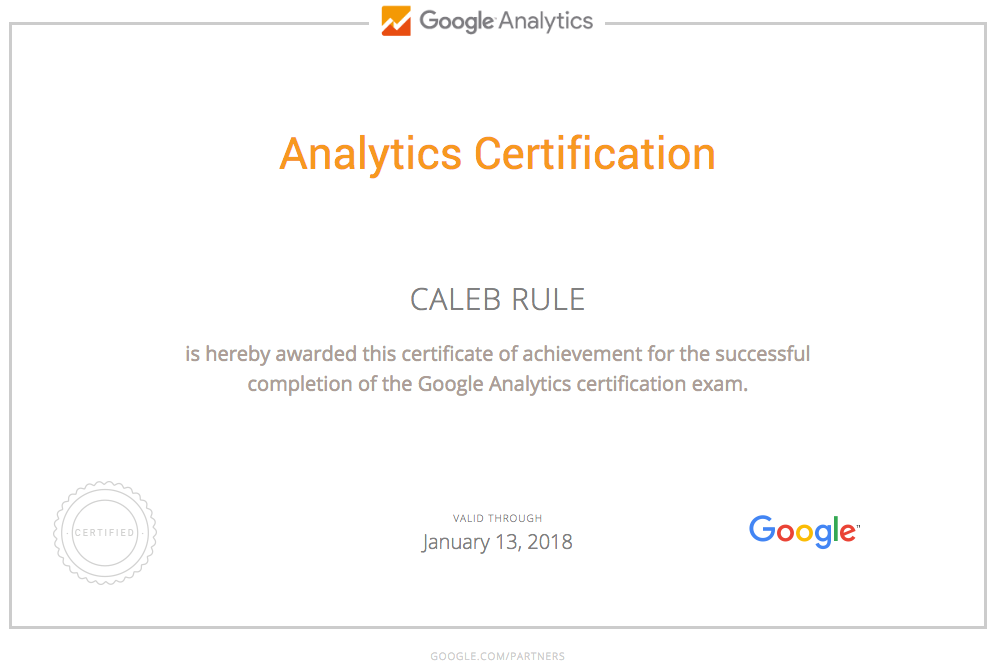 Caleb Rule is Google Analytics certified