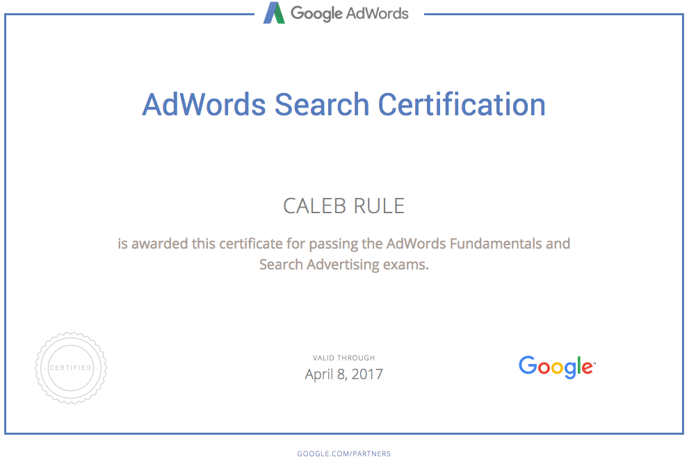 Caleb Rule is Google AdWords certified
