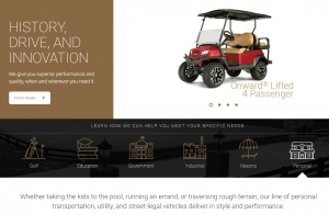 Club Car homepage, with Onward PTV shown