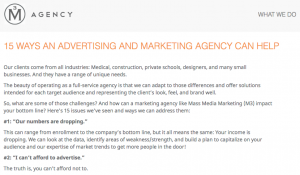 Mass Media Marketing blog, which I updated during my time there